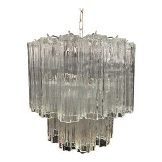 Venini Tube Glass Chandelier For Sale