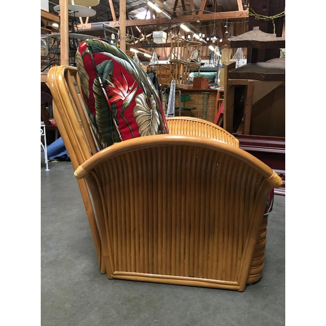 2010s Rattan Fan Arm Lounge Chair With Ottoman Set For Sale - Image 5 of 9