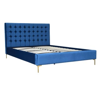 Modern Blue Velvet Eastern Queen Bed Frame For Sale