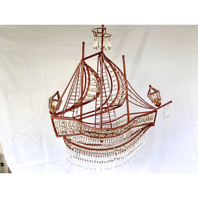 Glass Rose Gold and Crystal Ship Chandelier For Sale - Image 7 of 7