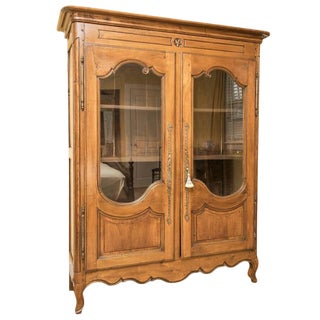 Late 18th Century Antique French Glass Front Armoire For Sale