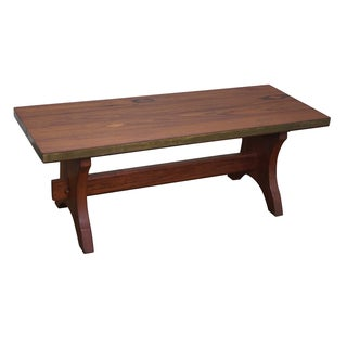 Rustic Walnut Campaign Trestle Base Coffee Table For Sale