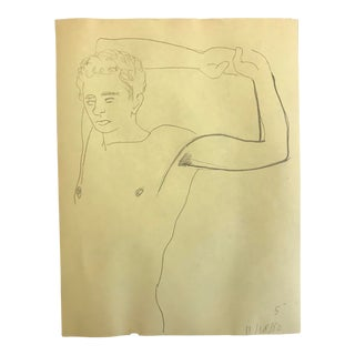 1980s James Bone Posing Male Nude Drawing For Sale