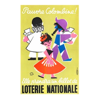 1957 French Poster, Loterie Nationale Advertisement, Pauvre Columbine For Sale