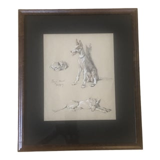 2000s Portrait of Dogs Pastel and Ink Drawing, Framed For Sale