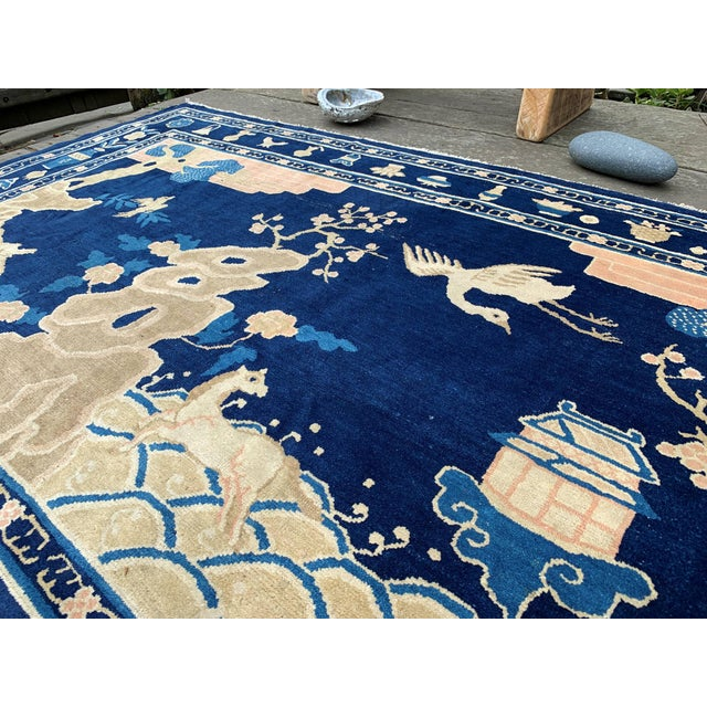 Antique 1910s Blue Chinese Pictorial Rug- 5′ × 8′ For Sale - Image 11 of 13