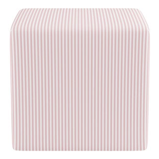Cube Ottoman in Pink Ticking Stripe For Sale