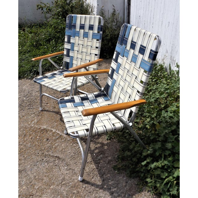 Vintage Aluminum Webbed Folding Lawn or Patio Chairs - A Pair - Image 4 of 9