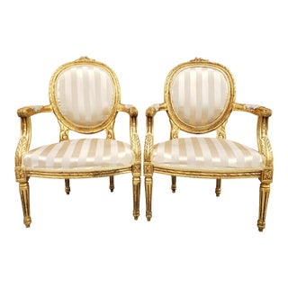 Antique Louis XVI Style Giltwood Armchairs-A Pair For Sale