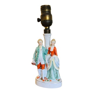 1900s Antique Hand Painted Porcelain Figurines Boudoir Lamp For Sale