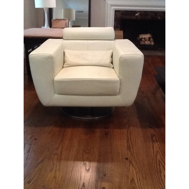 Italian Italian Leather Cigar Swivel Chairs - a Pair For Sale - Image 3 of 5