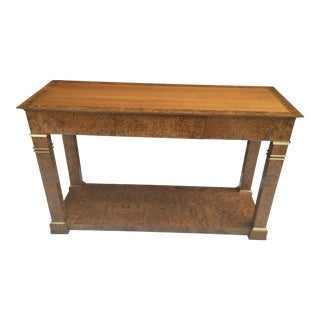 Baker Furniture Regency Console in Burl& Brass For Sale