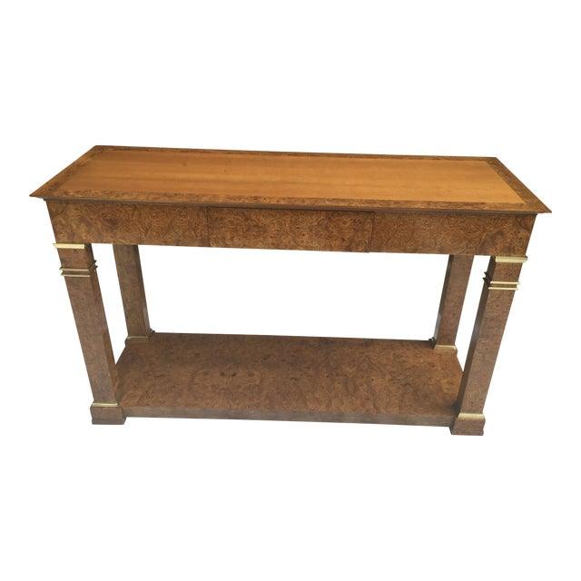 Baker Furniture Regency Console in Burl& Brass For Sale