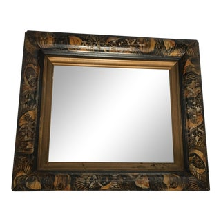 Black and Gold Wood Mirror For Sale