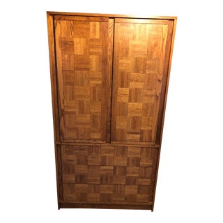 Mid-Century, Soft Brutalist Honey Oak Armoire For Sale