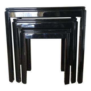 Mid-Century Modern Black Lacquer Nesting Tables - Set of 3