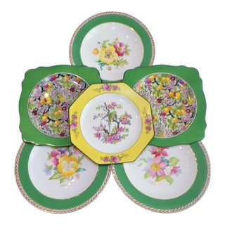 1930's Crown Ducal Ware Chintz Plates - Set of 6 For Sale