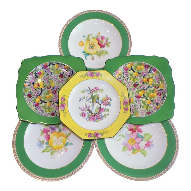 (Final Markdown) 930's Crown Ducal Ware Chintz Plates - Set of 6 For Sale