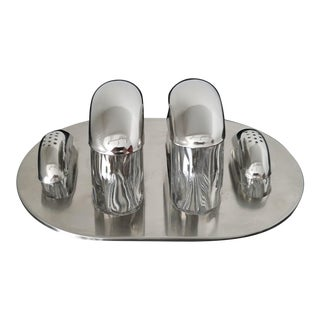 Mid-Century Stainless and Crystal Cruet Set