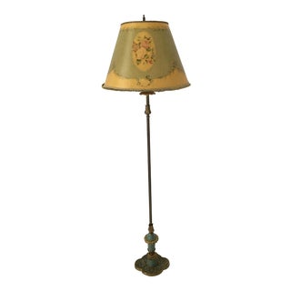 Art Deco Floral Green Floor Lamp For Sale