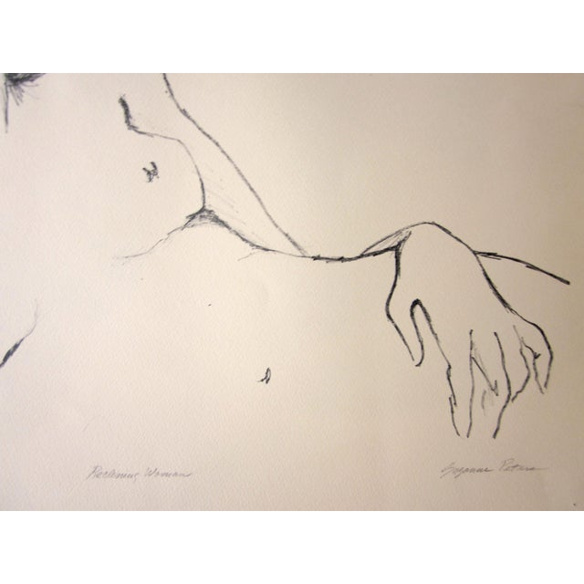 "Contemporary 1970s Vintage Suzanne Peters ""Reclining Woman"" Signed Nude Woman Figural Study Boho Chic Stone Lithograph For Sale - Image 3 of 13"