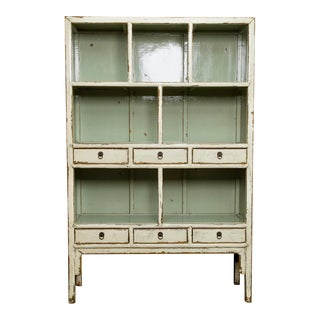 Chinese Open Shelf Cabinet With Cream Colored Lacquer Finish