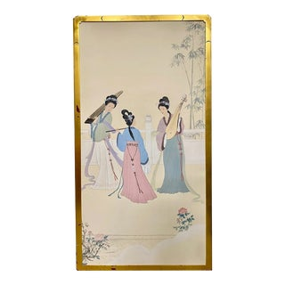 Chinoiserie Golden Framed Screen For Sale
