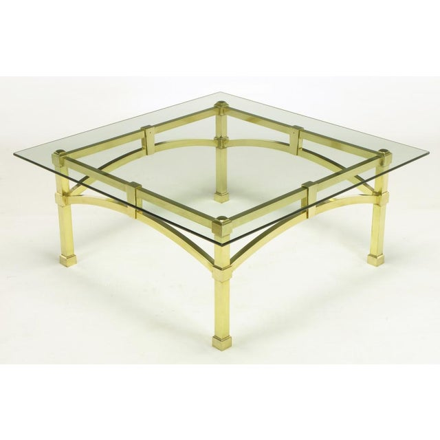 Italian Postmodern Architectural Brass & Glass Coffee Table - Image 3 of 10