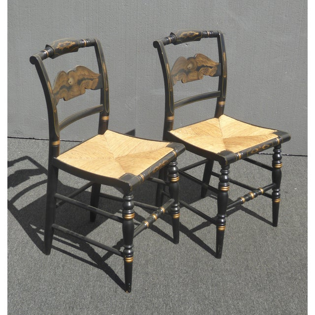 Hitchcock Vintage Pair of L. Hitchcock Federal Black Eagle Chairs With Rye Seats For Sale - Image 4 of 11