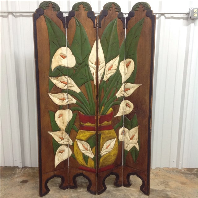 Diego Rivera Style Carved Relief 4 Panel Screen - Image 2 of 5