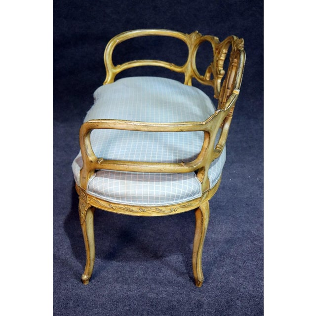 Brown French Louis XV Style Paint Decorated Settee For Sale - Image 8 of 11