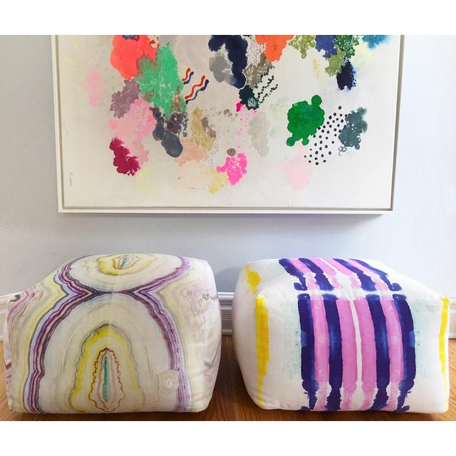 Kristi Kohut Kristi Kohut Sailor Stripes Pouf For Sale - Image 4 of 5