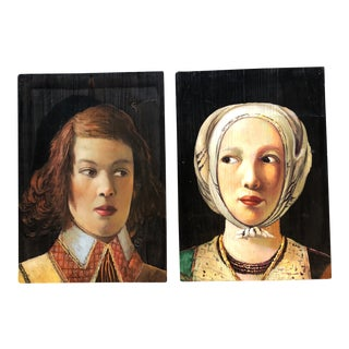 Pair Contemporary Portrait Paintings on Wood Panels For Sale