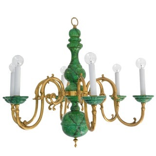 Hollywood Regency Turned Wood and Brass Six-Arm Chandelier For Sale