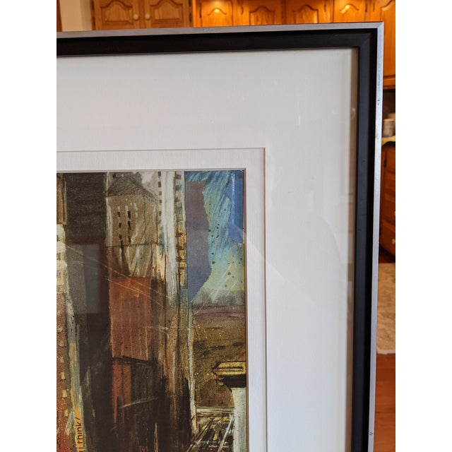 """1980s """"Times Square"""" Cityscape Lithograph, Framed For Sale - Image 11 of 12"""