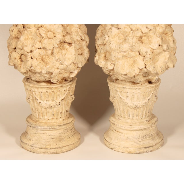 1970s Ceramic Floral Mantle Topiaries or Garden Statues - a Pair For Sale In Tulsa - Image 6 of 13