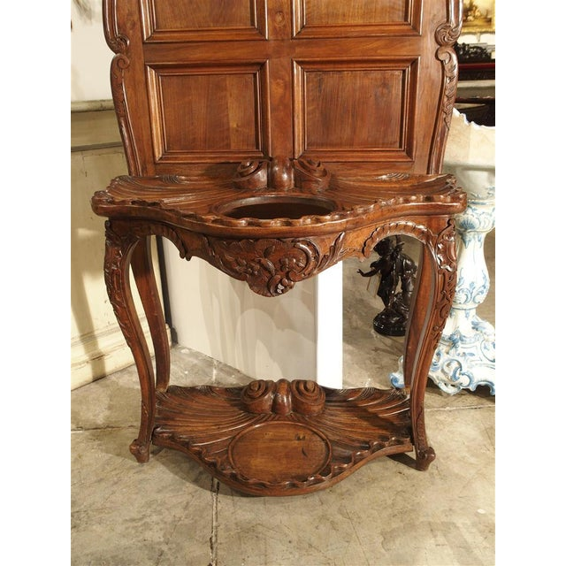 French Antique French Walnut Wood Hall Rack and Umbrella Stand, Circa 1880 For Sale - Image 3 of 11
