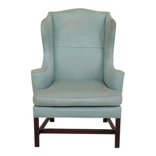 Kittinger Cw-12 Colonial Williamsburg Mahogany & Blue Wing Chair