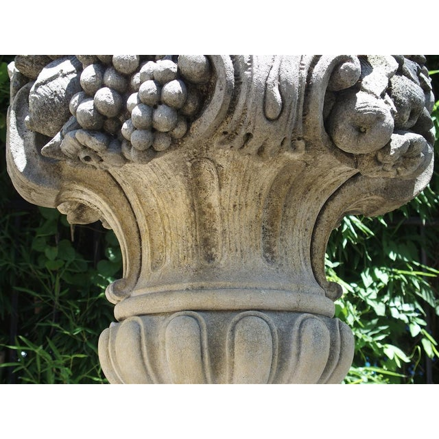 Gray Pair of Italian Limestone Urns With Fruit and Floral Bouquets on Pedestals For Sale - Image 8 of 13