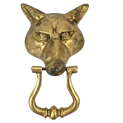 Brass Wolf Head Door Knocker - Image 1 of 4