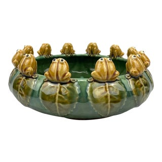 Vintage Asian Majolica Pottery Frog Pond Planter For Sale