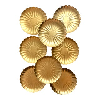 Vintage Mid Century Gold Leaf Yamanaka Japanese Lacquer Ware Lotus Plates Set of 8 For Sale