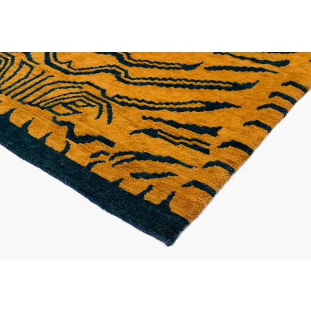 2010s Indigo Blue and Gold Wool Tiger Rug-3′ × 6′ For Sale - Image 5 of 8