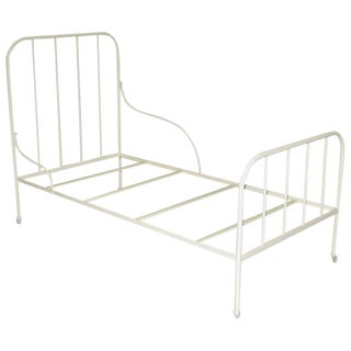 Shabby Chic Handmade Single Twin Bed in White Cream Iron, Spain For Sale