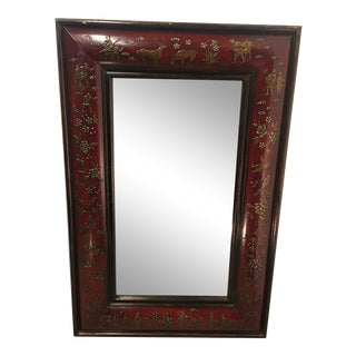 Chinoiserie Deep Burgundy Mirror With Deer Hunt Theme For Sale