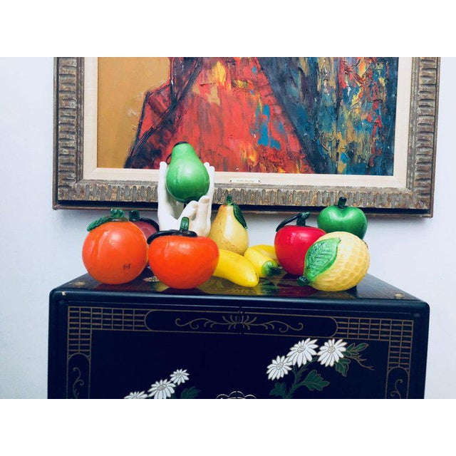 Gorgeous fruit (and one vegetable) bunch of midcentury Murano art glass. Includes a red apple, pink apple, two oranges, a...