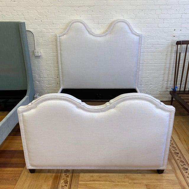 New Queen Size Custom Design Upholstered Linen Bed Frame For Sale - Image 10 of 13