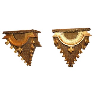 19th Centuy Carved and Gilded Wooden Consoles - a Pair