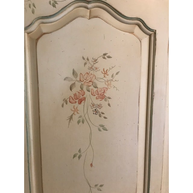 French Country Ethan Allen Painted French Country Armoire For Sale - Image 3 of 5