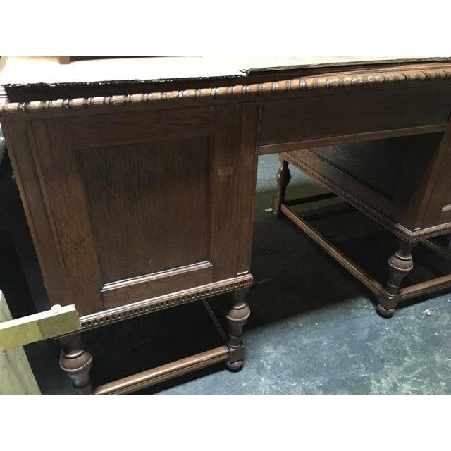 Antique English Tiger Oak Carved Desk - Image 10 of 10